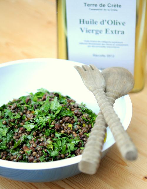 Salade de lentilles vertes du Puy aux petits légumes et au persil