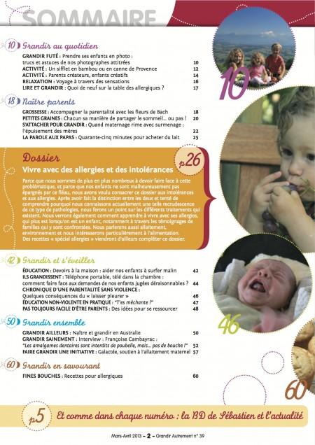 Sommaire de Grandir Autrement n° mars avril 2013