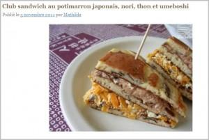 Club Sandwich au potimarron, nori, thon et umeboshi