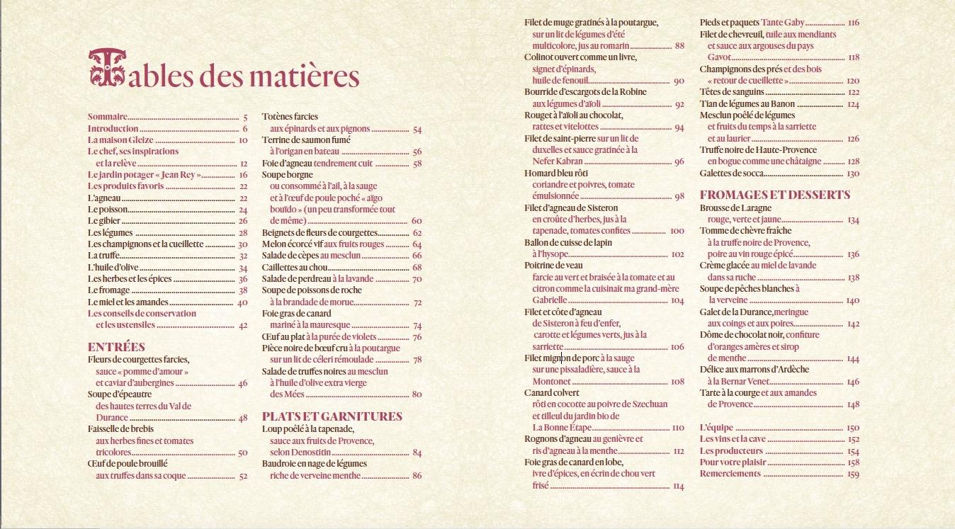 Table des matières de La Bonne Etape, de Jany Gleize, éditions B. Eveno
