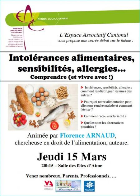 Affiche Conférence sur les intolérances alimentaires AIME mars 2018