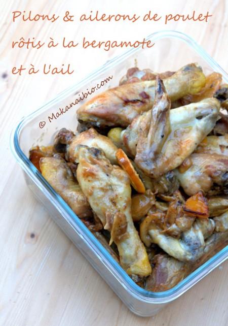 Pilons et ailerons de poulet rôtis au four, à la bergamote, à l'ail et à l'huile d'olive