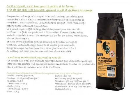 Mélange montagnard Autour du Riz informations nutritionnelles