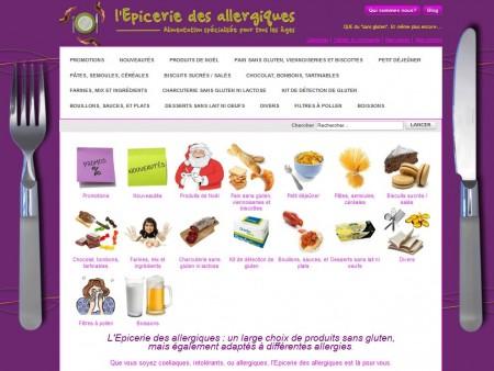 Capture d'écran du site l'Epicerie des allergiques