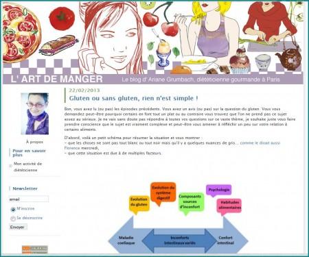 Capture d'écran du blog d'Ariane Grumbach, diététicienne à Paris