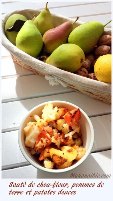 Sauté de chou-fleur, pommes de terre et patates douces