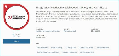 Mon mid certificate de l'IIN, Institute for Integrative Nutrition